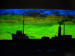 ship under black light