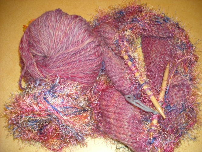 hand spun, hand dyed yarn for a felted hat