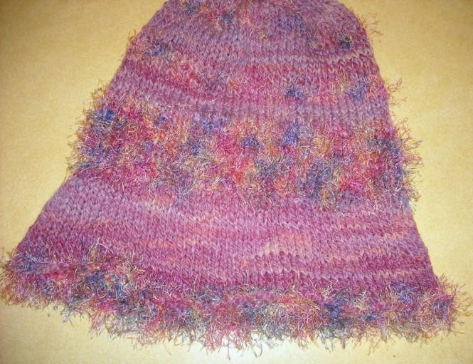 knitted hat awaiting felting.