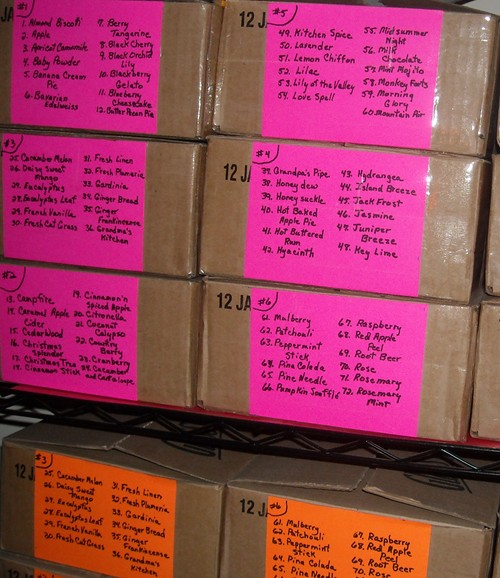 boxes of single soy candles