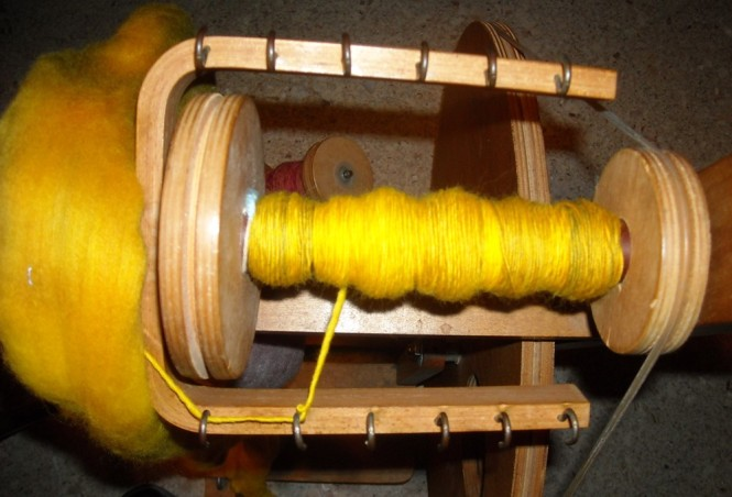 Spinning gold on my louet wheel.
