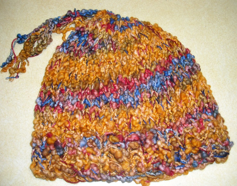 hand dyed thick and thin hat.