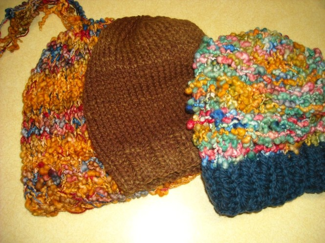 Three knit hats